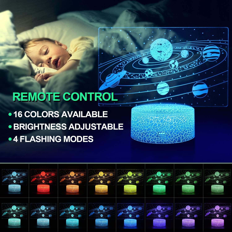 Sonnen System Geburtstags und Weihnachtsgeschenke f/ür Kinder Sonnen System 3D Illusion Lampe 3D Nachtlicht mit 16 Farben /Ändern und Fernbedienung