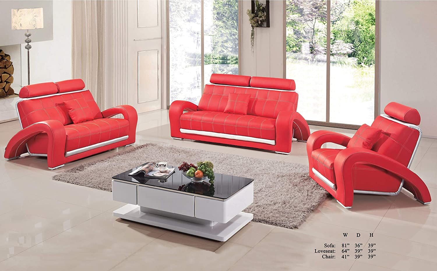 Amazon com esofastore living room furniture red silver bonded leather sofa loveseat chair adjustable headrest unique arms 3pc sofa set kitchen dining