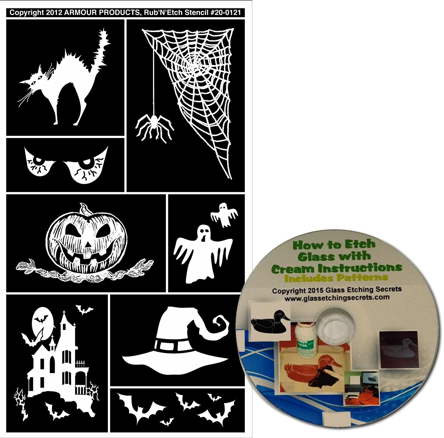 Jack-O-Lantern Halloween Glass Etching Stencils #2 with Black Cat Ghosts Haunted House Spider Web Spooky Eyes Free How to Etch CD