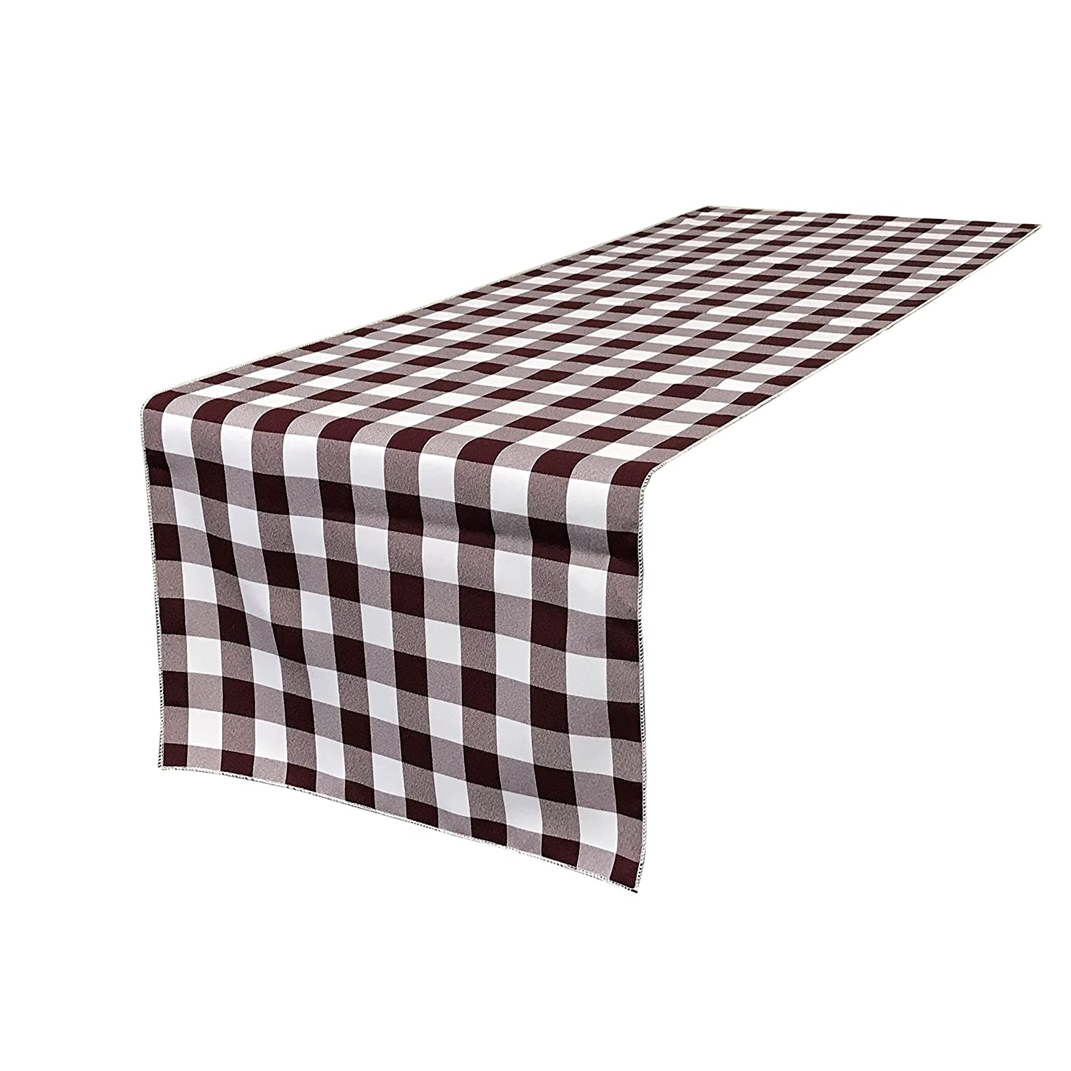 LA Linen Polyester Gingham Checkered 14 by 108-Inch Table Runner Navy//White TCcheck14X108NavyWht