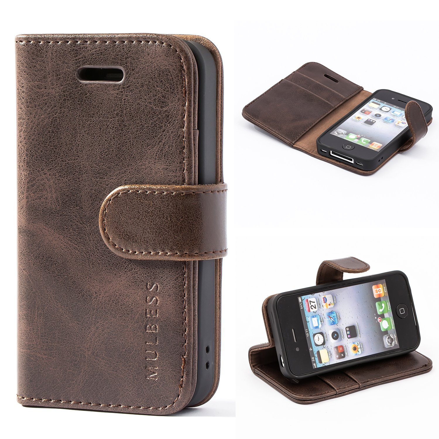 sports shoes 7e9f6 9a1d4 iPhone 4 / 4s Case,Mulbess Leather Case, Flip Folio Book Case, Money Pouch  Wallet Cover with Kick Stand for Apple iPhone 4 / 4s,Coffee Brown