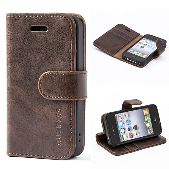 sports shoes 1bade 7c129 iPhone 4 / 4s Case,Mulbess Leather Case, Flip Folio Book Case, Money Pouch  Wallet Cover with Kick Stand for Apple iPhone 4 / 4s,Coffee Brown