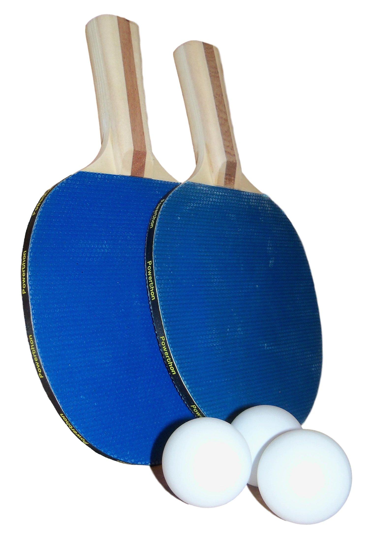 Powerthon Table Tennis Paddles - Set of 2 Recreational Table Tennis Paddles with 3 Upgraded Table Tennis Balls
