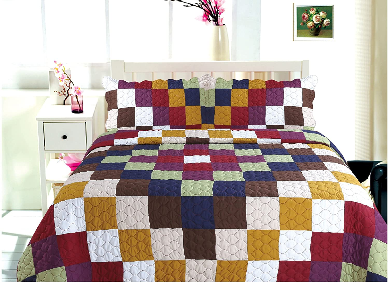 All for You 3-piece Reversible Bedspread/ Coverlet / Quilt Set- OverSize-Real patchwork-Burgundy back (king) (Full/Queen)