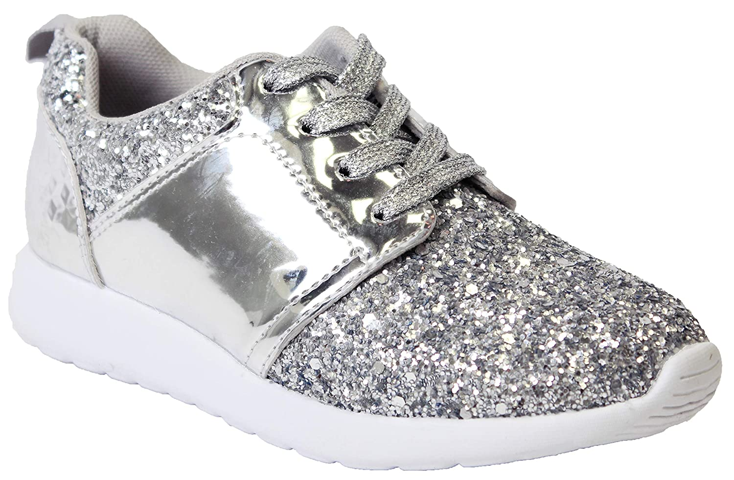 Twinkle Kids Girls Silver Fashion Metallic Sequins Glitter Lace up Light Weight Stylish Sneaker Shoes-2