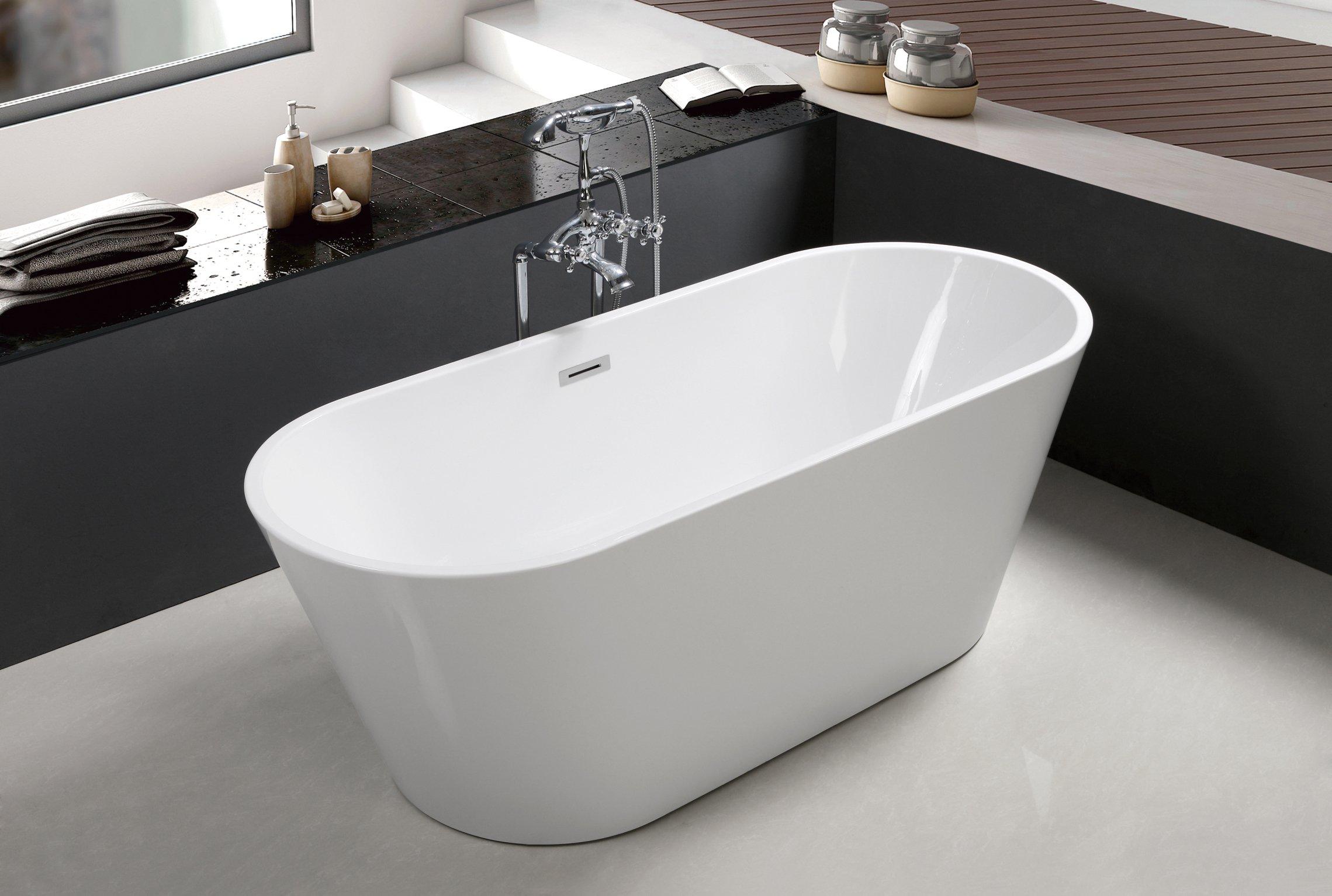 67'' Freestanding Luxury Bathtub White Acrylic