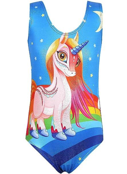 1537e4961 Amazon.com   Leotard for Girls Gymnastics Unicorn Sparkle Pink ...