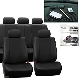 FH Group FH-PU007115 Deluxe Leatherette Full Set Solid Black Car Seat Covers, Airbag Ready and Split FH1002 Non-Slip Dash Grip Pad- Fit Most Car, Truck, SUV, or Van