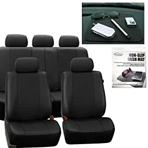 FH GROUP FH-PU007115 Deluxe Leatherette Full Set Solid Black Car Seat Covers, Airbag Ready and Split with FH GROUP FH1002 Non-slip Dash Grip Pad- Fit Most Car, Truck, Suv, or Van