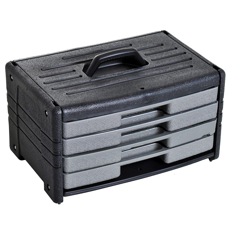 Malette boîte à outils 4 tiroirs coffret d'outils 99 pièces acier au carbone noir gris Homcom