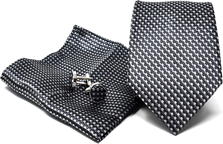 Corbata de hombre, Pañuelo de Bolsillo y Gemelos Gris a Rayas - 100% Seda - Clásico, Elegante y Moderno - (Caja y Conjunto de Regalo, ideal para una ...
