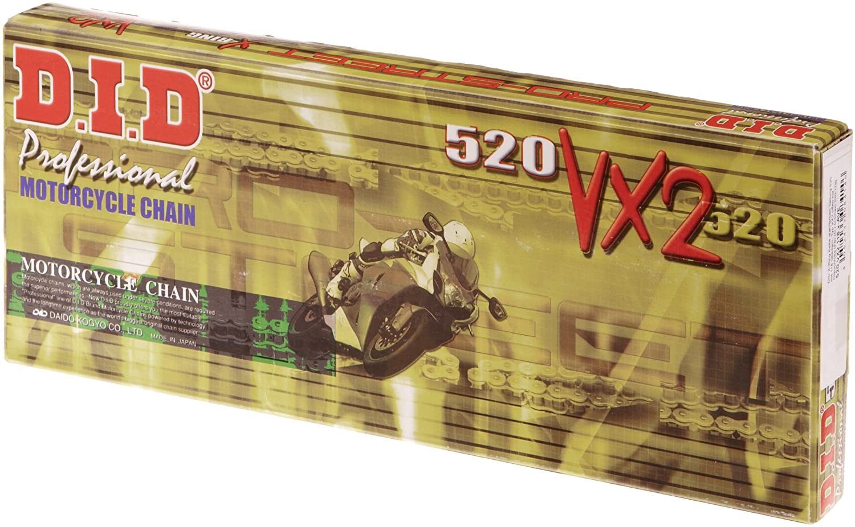 Typ VX2 offen mit Clipschloss D.I.D 520 VX2 118 ST O X-Ring Kette stahlfarben Teilung 520 mit 118 Gliedern FB