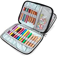 ProCase Crochet Hook Case (up to 9 Inches), Travel Organizer Zipper Bag for Various Crochet Hooks, Interchangeable Circular Knitting Needles and Other Accessories, Black (NO Accessories Included)