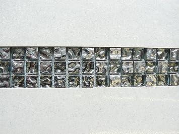 10 X Glas U0026 Silber Mosaik Fliesen Bordüre Spiegel Effekt Wände Böden 30  Cmx5cmx8 ...