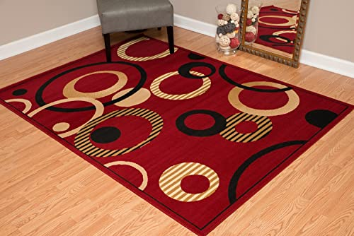 United Weavers of America Dallas Hip Hop Rug – 5ft. 3in. x 7ft. 2in. Red, Area Rug with Jute Backing, Circular Geometric Design