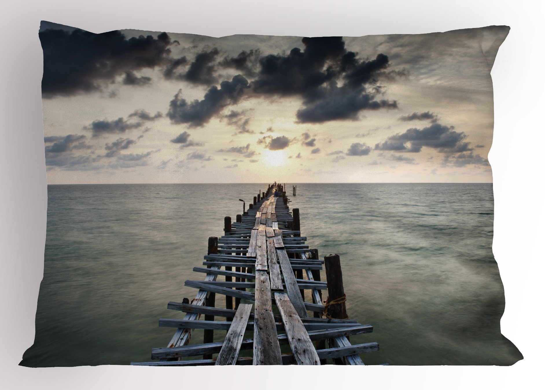 Lunarable Landscape Pillow Sham, Old Wood Bridge Sea Dark Clouds Over Evening Sky Nature Sunset View Seascape, Decorative Standard King Size Printed Pillowcase, 36 X 20 inches, Charcoal Grey by Lunarable (Image #1)