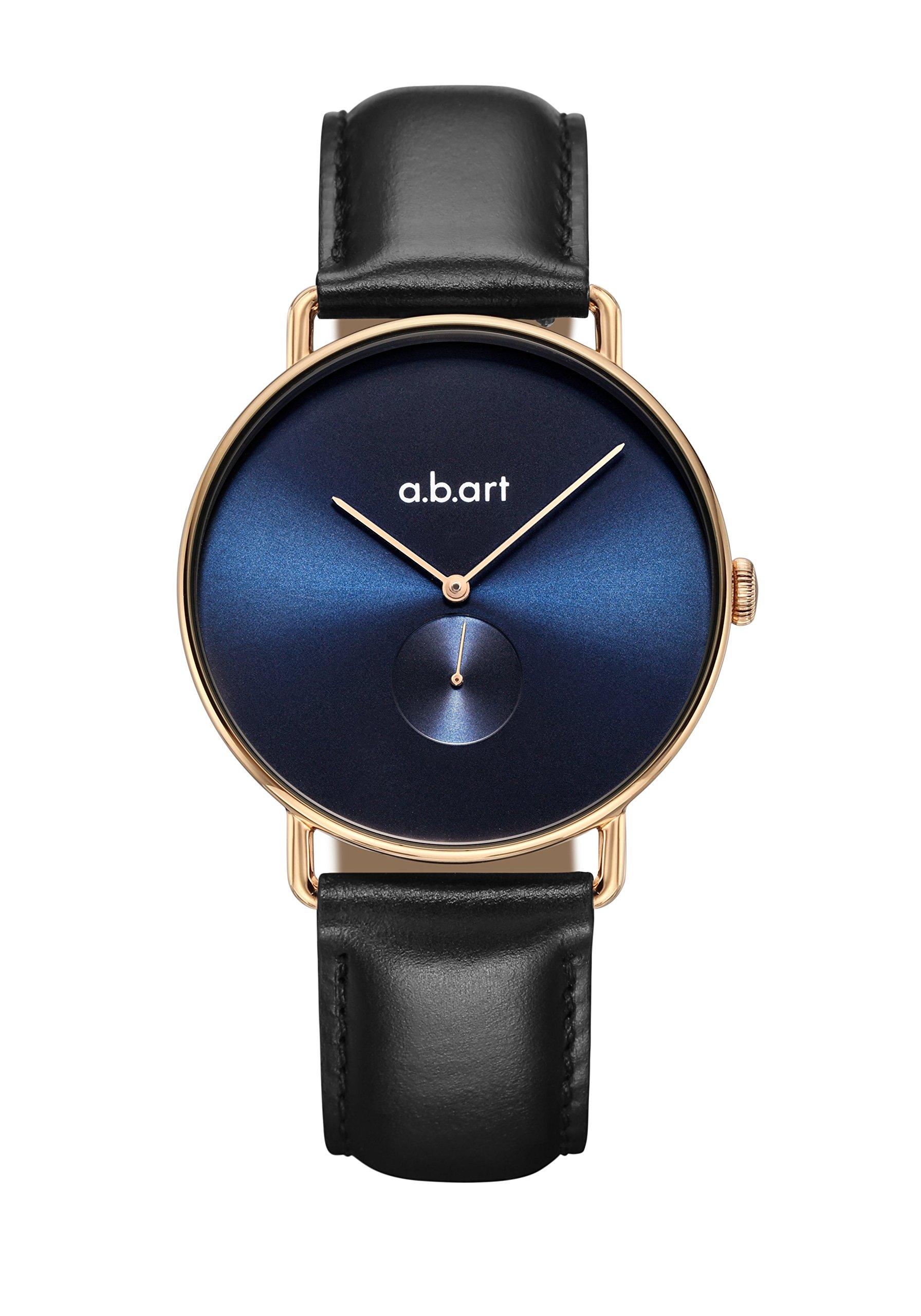 a.b.art FA36-012-lL Ocean Blue Dial Rose Gold Hand Black Leather Lady Dress Watch