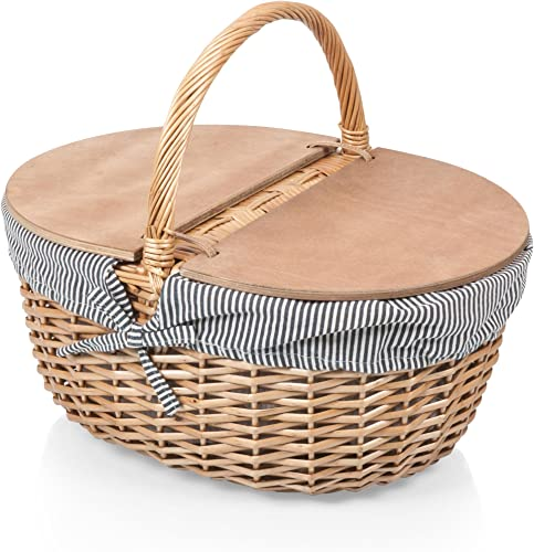 Picnic Time Country Picnic Basket with Liner, Navy White Stripe, one size
