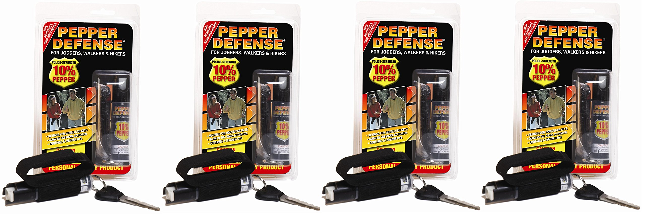 Pepper Defense 4 Pack 10% OC Pepper Spray w/Hand Strap for Jogging, Running, Walking, Hiking - Max Strength Police Formula - Emergency Self Defense Non Lethal Weapon for Safety and Protection