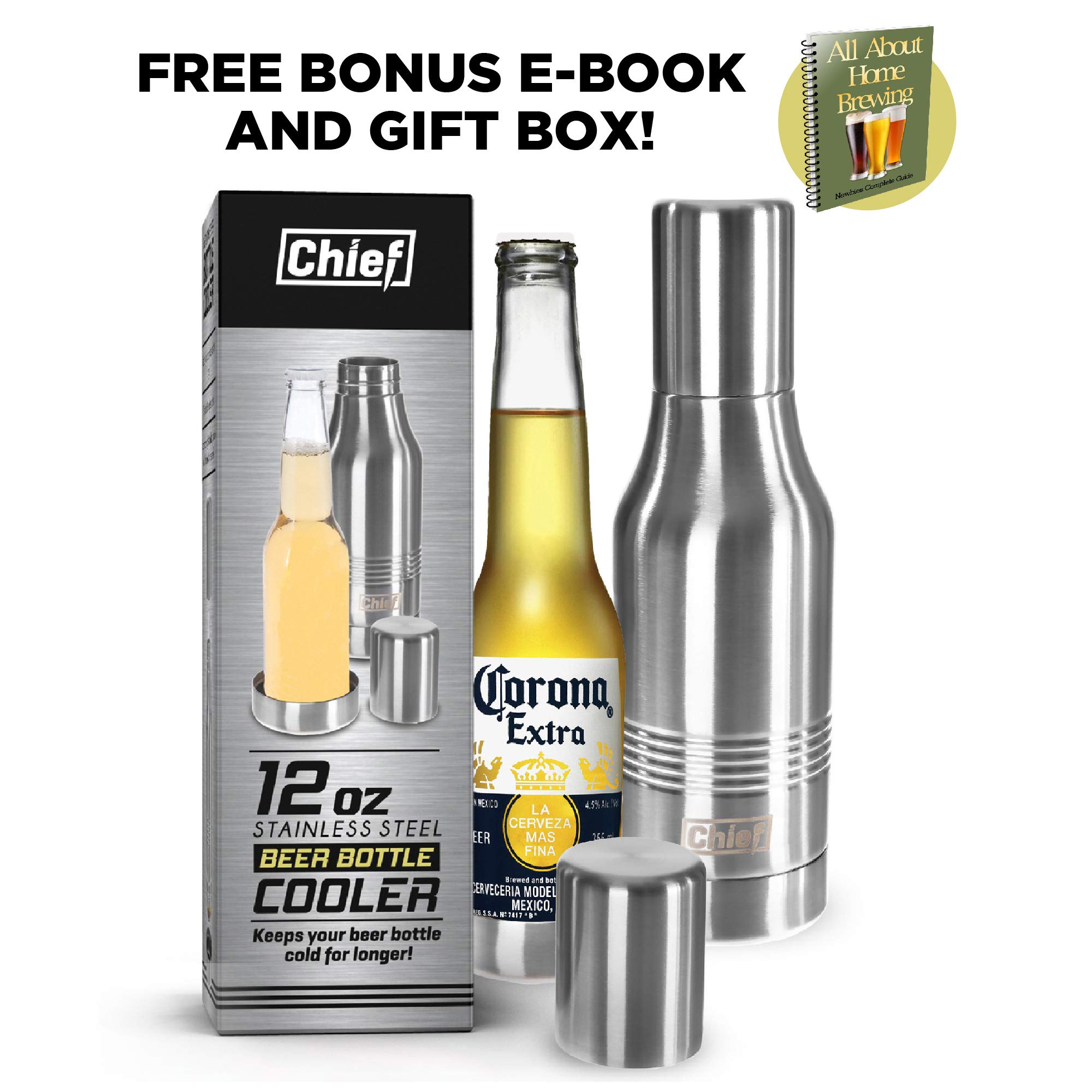 Beer Bottle Cooler- Double Wall Stainless Steel Beer Bottle Insulator. Great Gift ! BONUS e-Book and Gift Packaging. by Chief (Image #2)