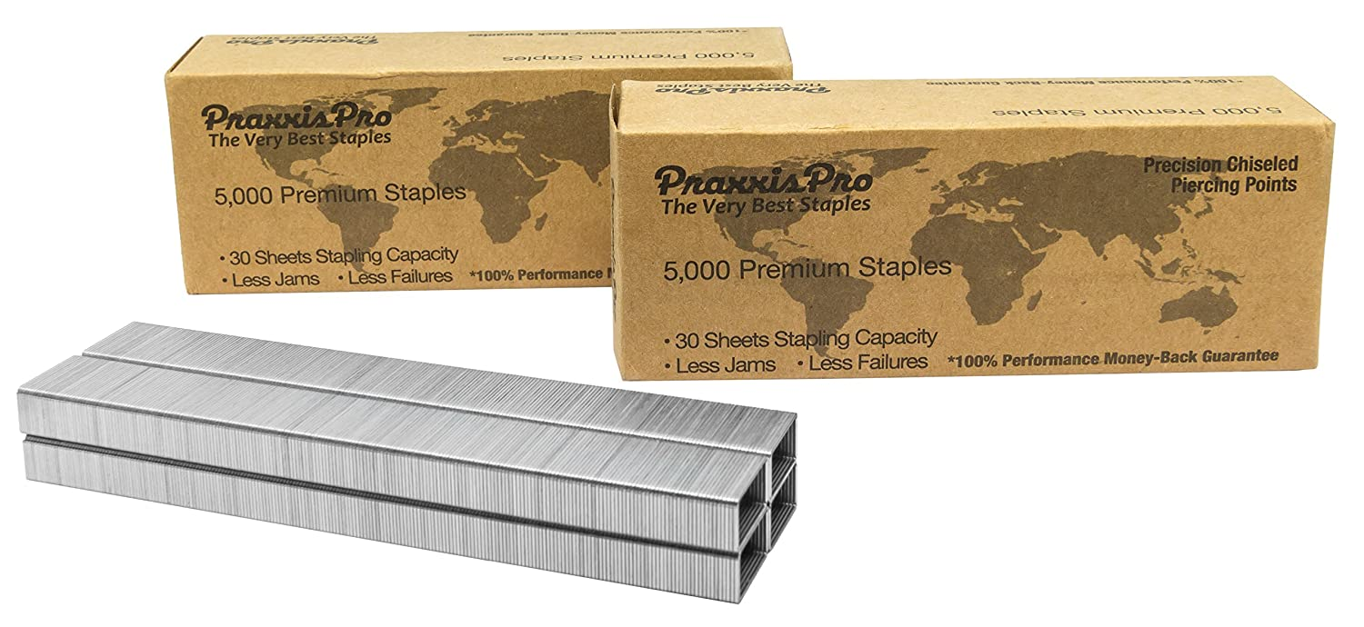 Praxxis Pro 26/6 Standard Staples - Chisel Point - Silver, 10,000 Count … 000 Count … PraxxisPro SS26/6-B5000X2