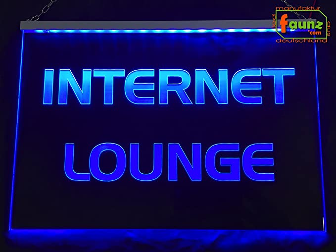 LED Cartel Internet Lounge Azul Opaco sobre Transparente o ...