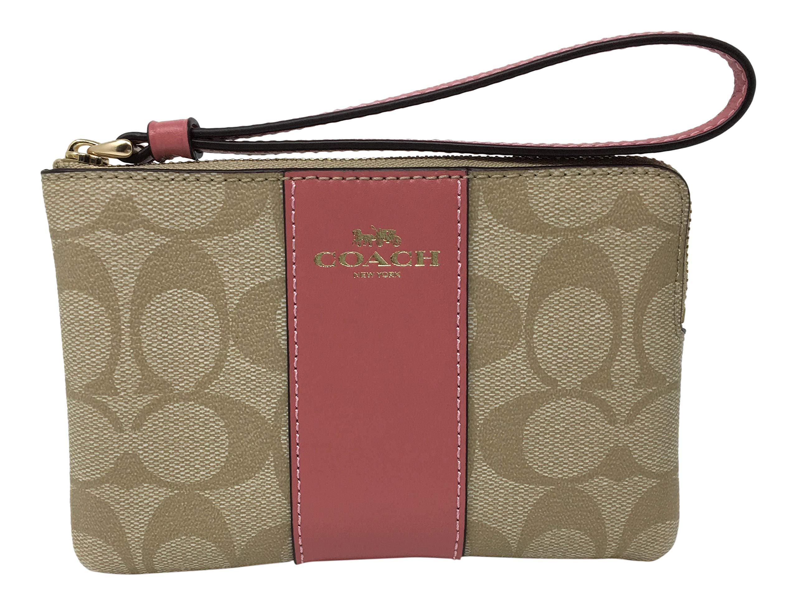 Coach Signature PVC Leather Corner Zip Wristlet (Light Khaki Peony)