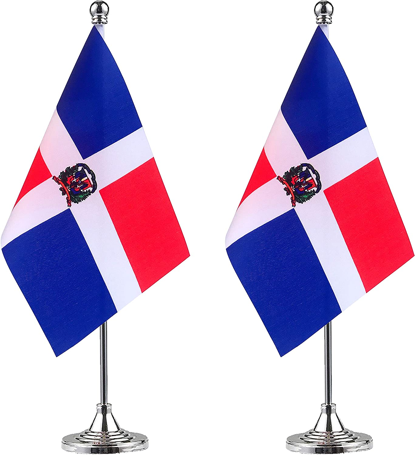 WEITBF Dominica Desk Flag Small Mini Dominican Office Table Flag with Stand Base,Dominican Themed Party Decorations Celebration Event,2 Pack: Garden & Outdoor