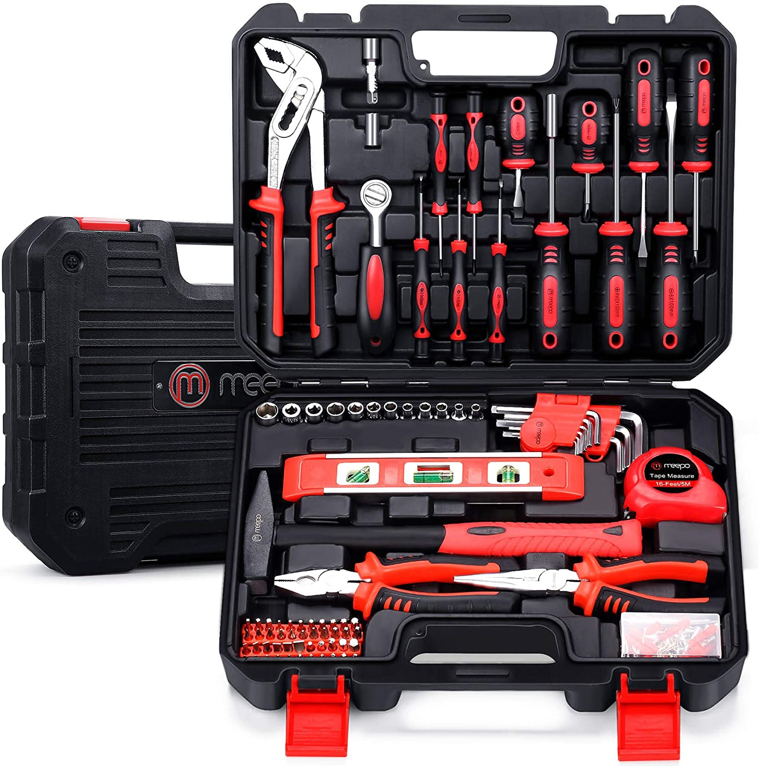 M MEEPO Tool Set, 186-Piece Tool Kit for Men Women Home and Household Repair, Complete Home Tool Kit for DIY, College Students, with Solid Toolbox