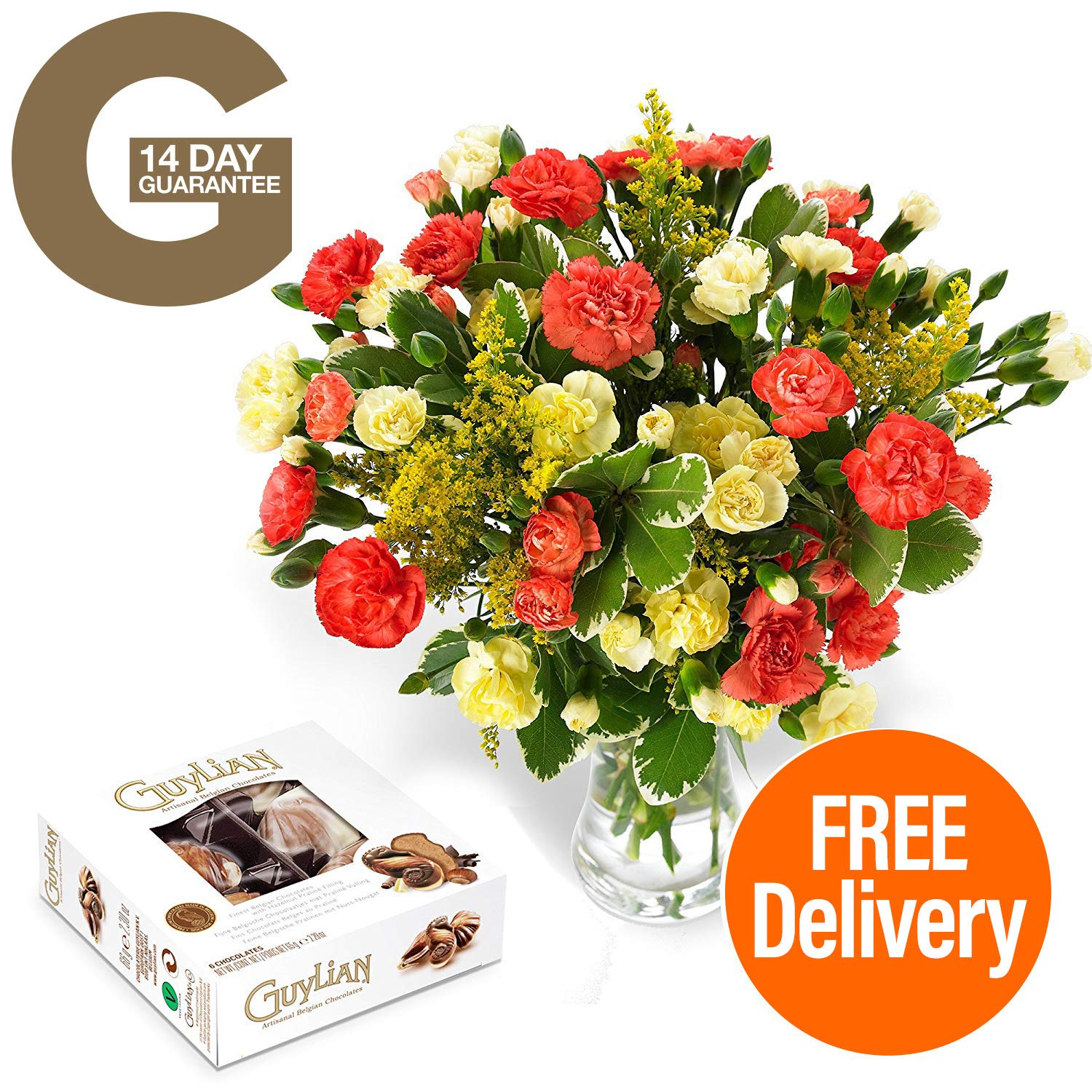Fresh flowers delivered free uk delivery blazing spray carnation fresh flowers delivered free uk delivery blazing spray carnation bouquet with free chocolates flower food and bonus ebook guide perfect for birthdays izmirmasajfo