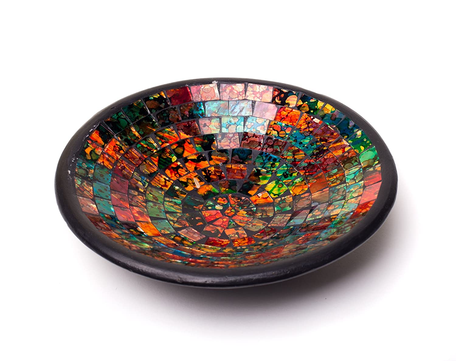 Glass Mosaic Square Accent Plate Platter Decorative Catch-All Tray Dish Centerpiece Bowl - Green, Orange, Blue Colors for Living Room, Bedroom, Hallway Console Side Table Decor (Round 8 Inch Orange)