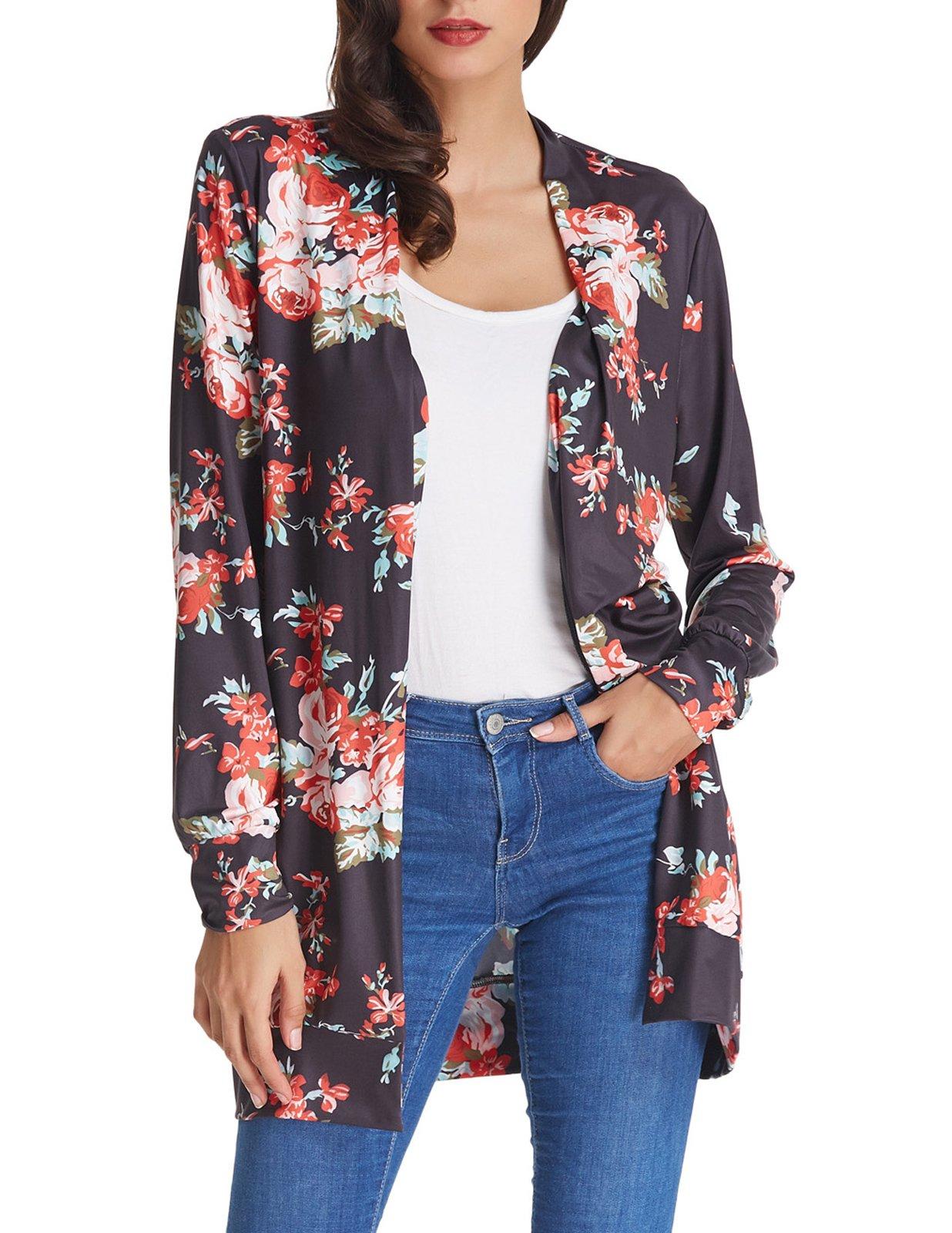 GRACE KARIN Women's Lightweight Casual Cardigan Wrap Floral Outwear Kimono Size XL Black