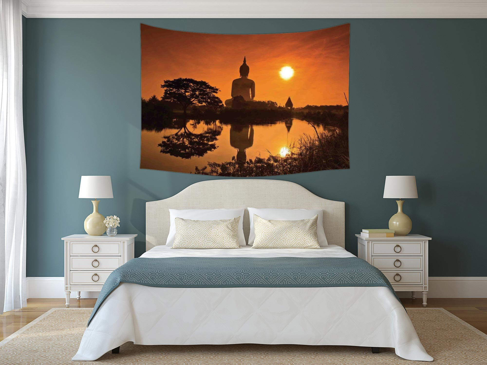 Polyester Tapestry Wall Hanging,Asian Decor,Big Giant Statue by the River at Sunset Thai Asian Culture Scenery Zen Print Decorative,Burnt Orange,Wall Decor for Bedroom Living Room Dorm