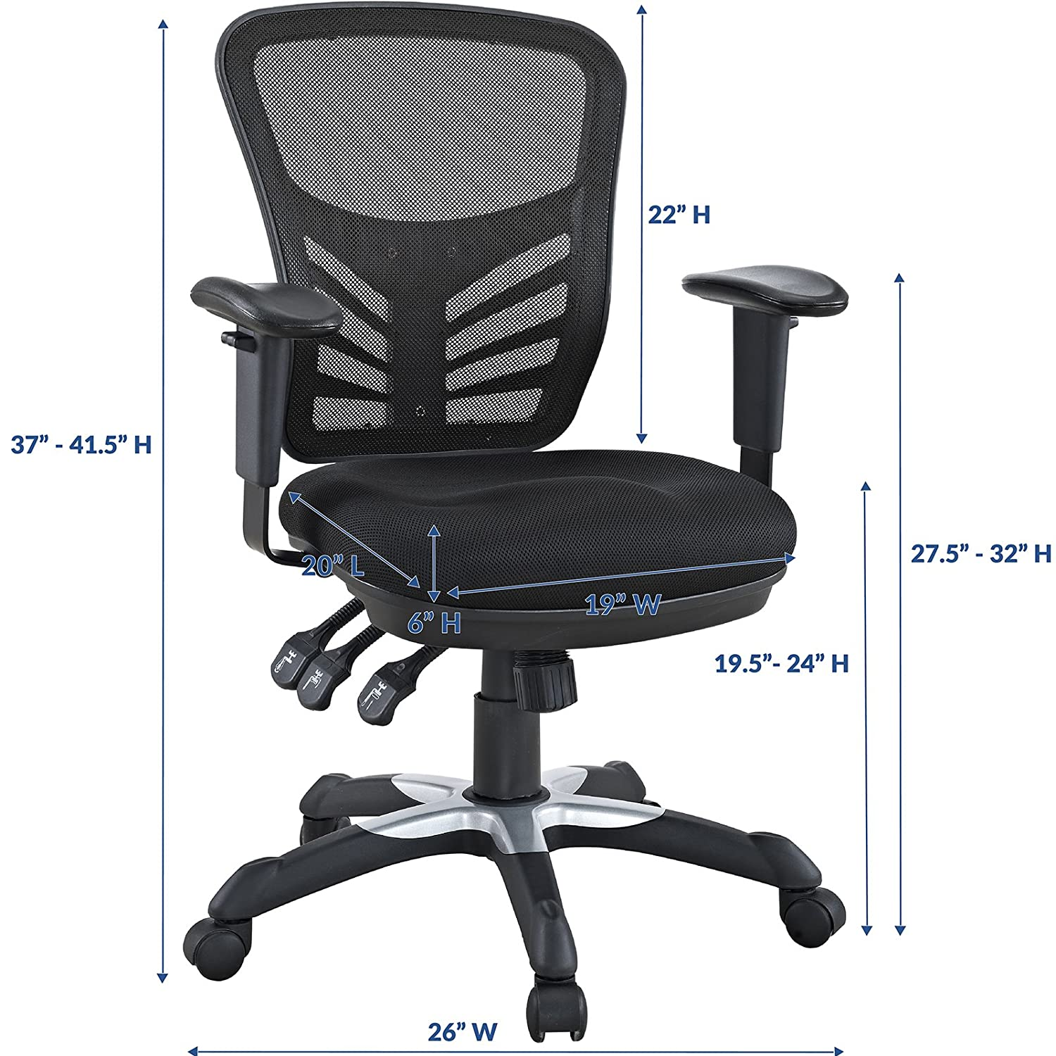 Eei 757 Gry Modway Articulate Ergonomic Mesh Office Chair In Gray Modway Inc