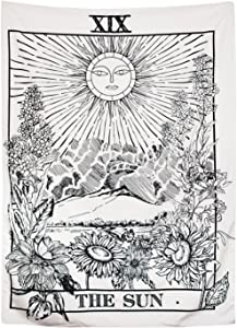 BLEUM CADE Tarot Tapestry The Moon The Star The Sun Tapestry Medieval Europe Divination Tapestry Wall Hanging Tapestries Mysterious Wall Tapestry for Home Decor (59×82 Inches, The Sun)
