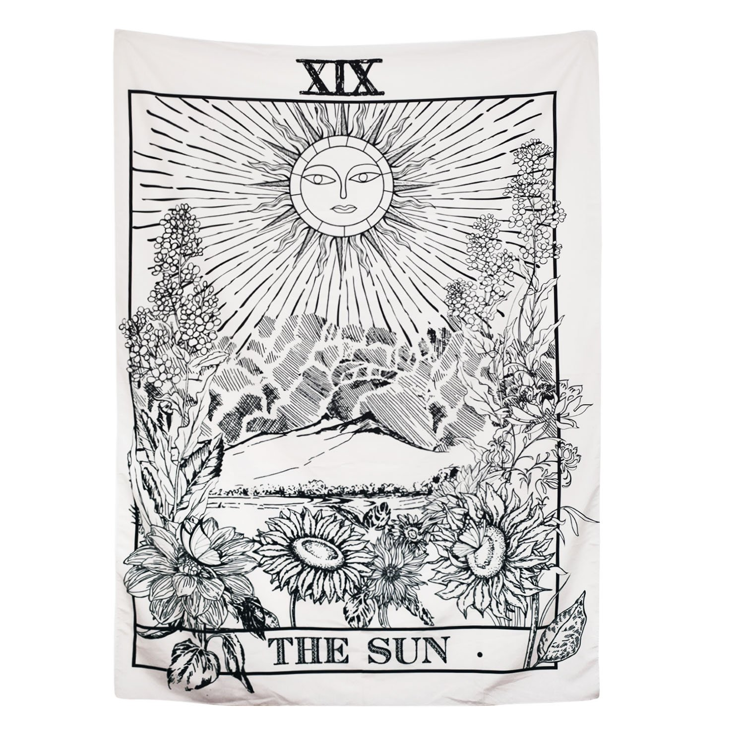 BLEUM CADE Tarot Tapestry The Moon The Star The Sun Tapestry Medieval Europe Divination Tapestry Wall Hanging Tapestries Mysterious Wall Tapestry for Home Decor (The Sun, 70x92 Inches)