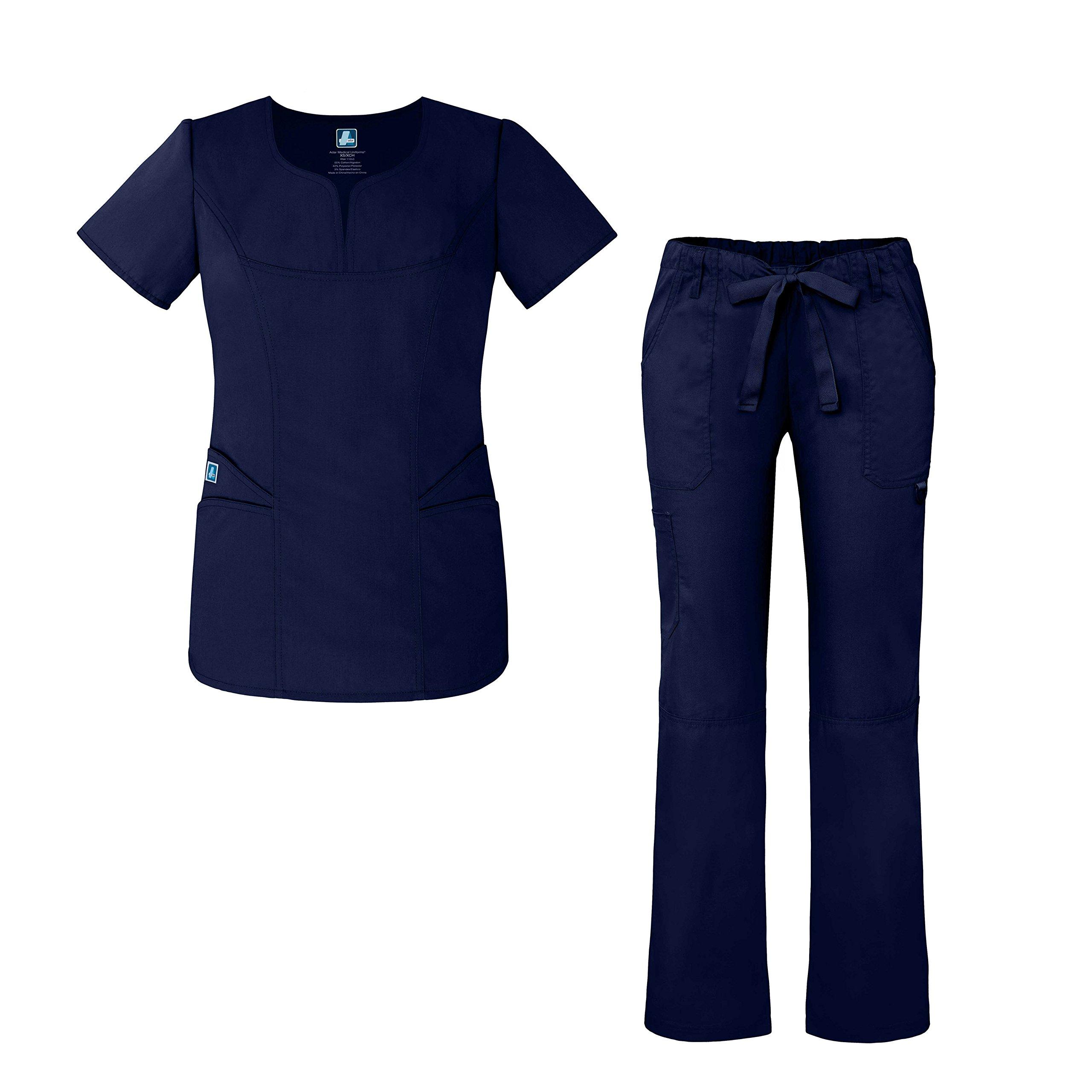 Universal Women's Scrub Set – Fashion Scrub Top and Multi-Pocket Scrub Pants - 903 - Navy - XL