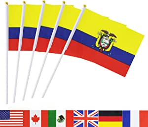 TSMD Ecuador Stick Flag, 50 Pack Hand Held Small Ecuadorian National Flags On Stick,International World Country Stick Flags,Party Decorations for Olympics,Sports Clubs,Festival Events Celebration