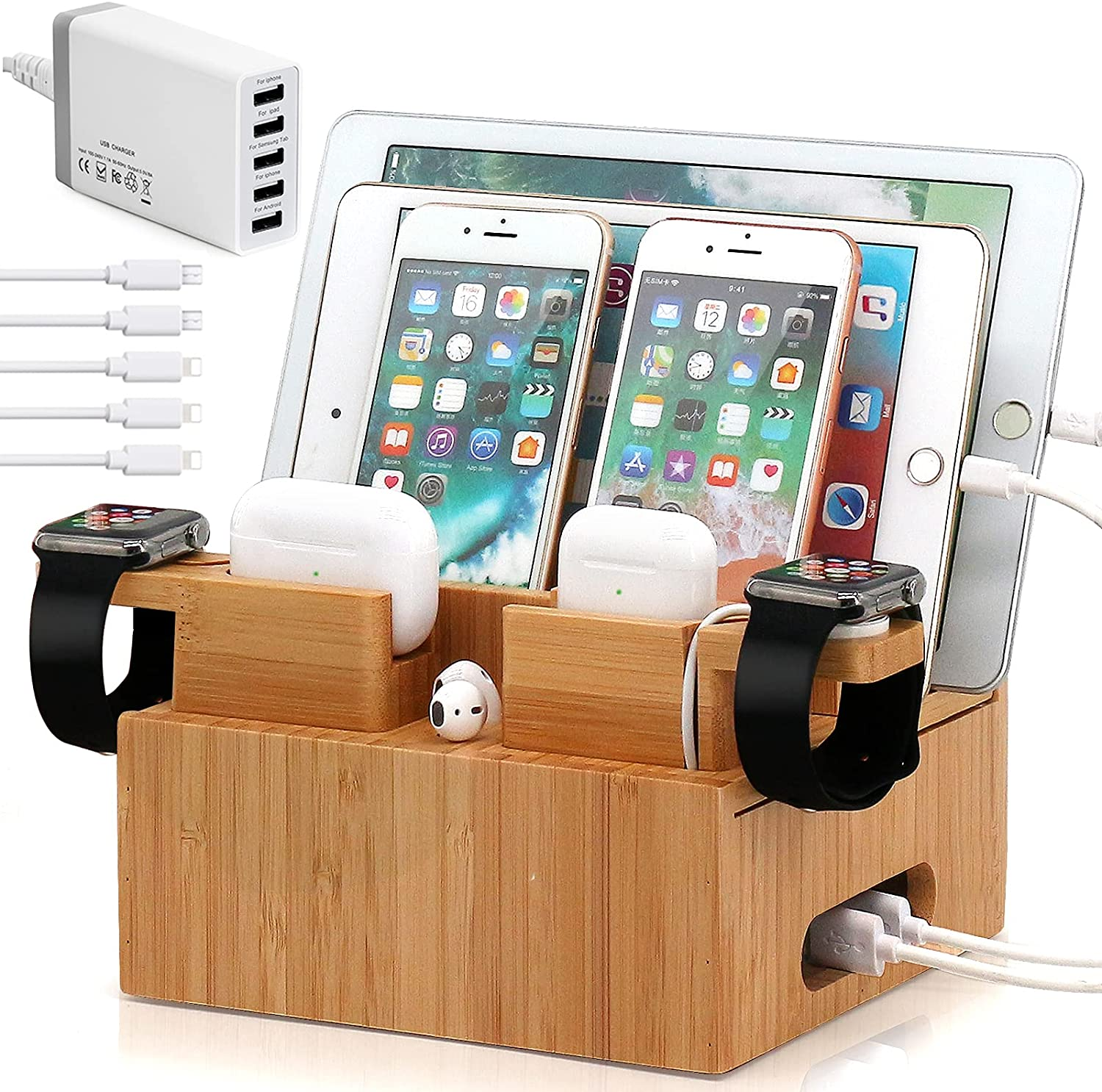 Bamboo Charging Station Organizer for Multiple Devices (Included 5 Port USB Charger, 5 Pack Charge & Sync Cable, with AirPod & iWatch Stand), Electronic Device Desktop Stations for Cell Phone, Tablet