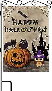 Happy Halloween Garden Flag Spooky Ghost Pumpkin Black Cat Double Sided Burlap Flag12.5x18 Inch Garden Yard Outdoor Halloween Decoration