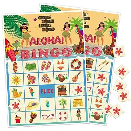Amazon com: luck sea Luau Bingo Game Party Supplies