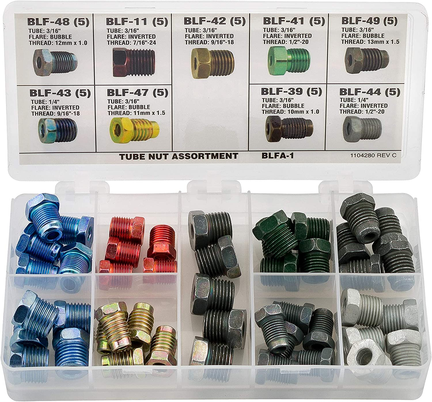 BRAKE LINE FITTING ASSORTMENT NUTS METRIC AND STANDARD IN METAL TRAY ADAPTERS