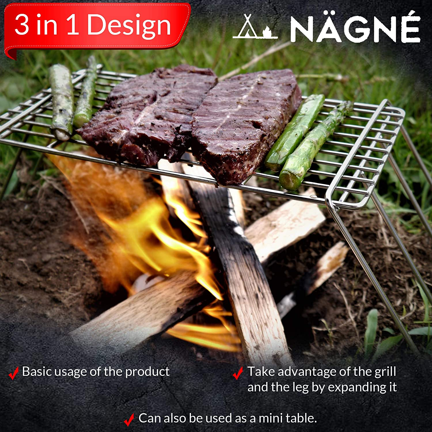 bushcraft backpackers grill grate set NAGNE welded 304 stainless steel carry bag included mini table cooking grate stand leg can be cooking grill compact size perfect gear 3 in 1 design