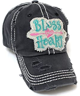 b1b2cc1b88a81 CAPS  N VINTAGE Women s Bless Your Heart Vintage Embroidery Baseball Hat