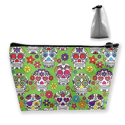 6a2cfcc375c1 Amazon.com: SKYLIHGT Green Colorful Sugar Skull Cosmetic Bag Travel ...