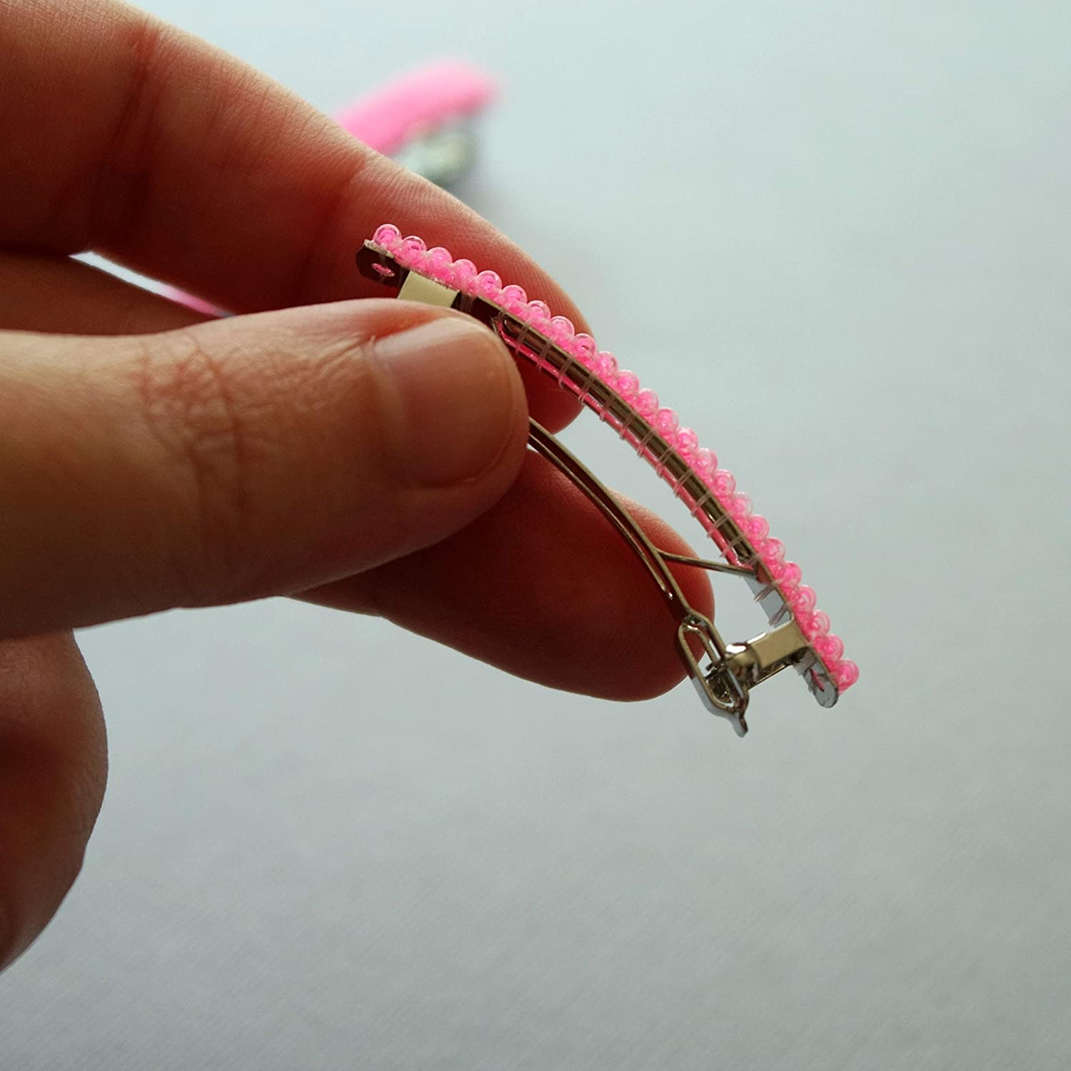 50mm Neon Pink Small French Barrettes