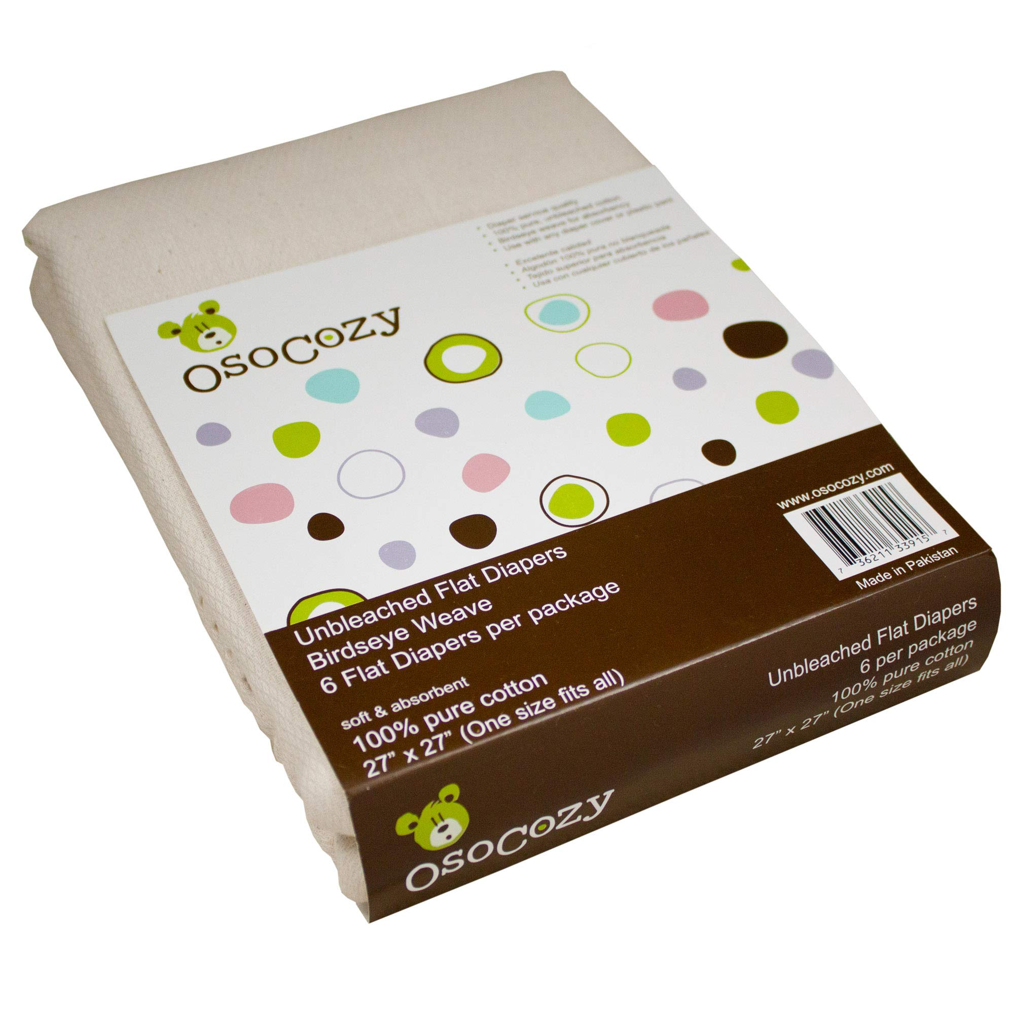 OsoCozy 6 Pack Birdseye Flat Unbleached Diapers by OsoCozy