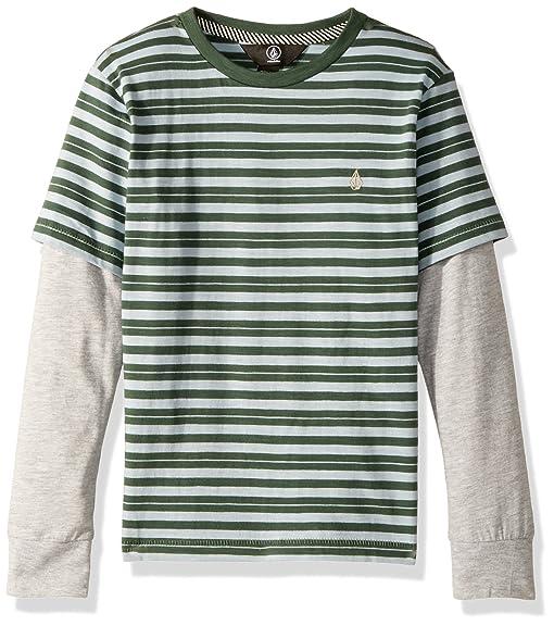 Volcom Little Boys' Impact Two Fer Crew Long Sleeve Shirt, Evergreen, ...