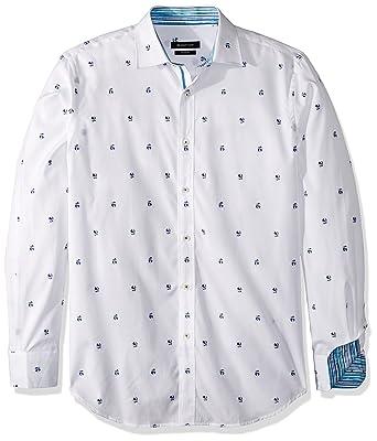 Bugatchi Mens Cotton Slender Fit Long Sleeve Shirt