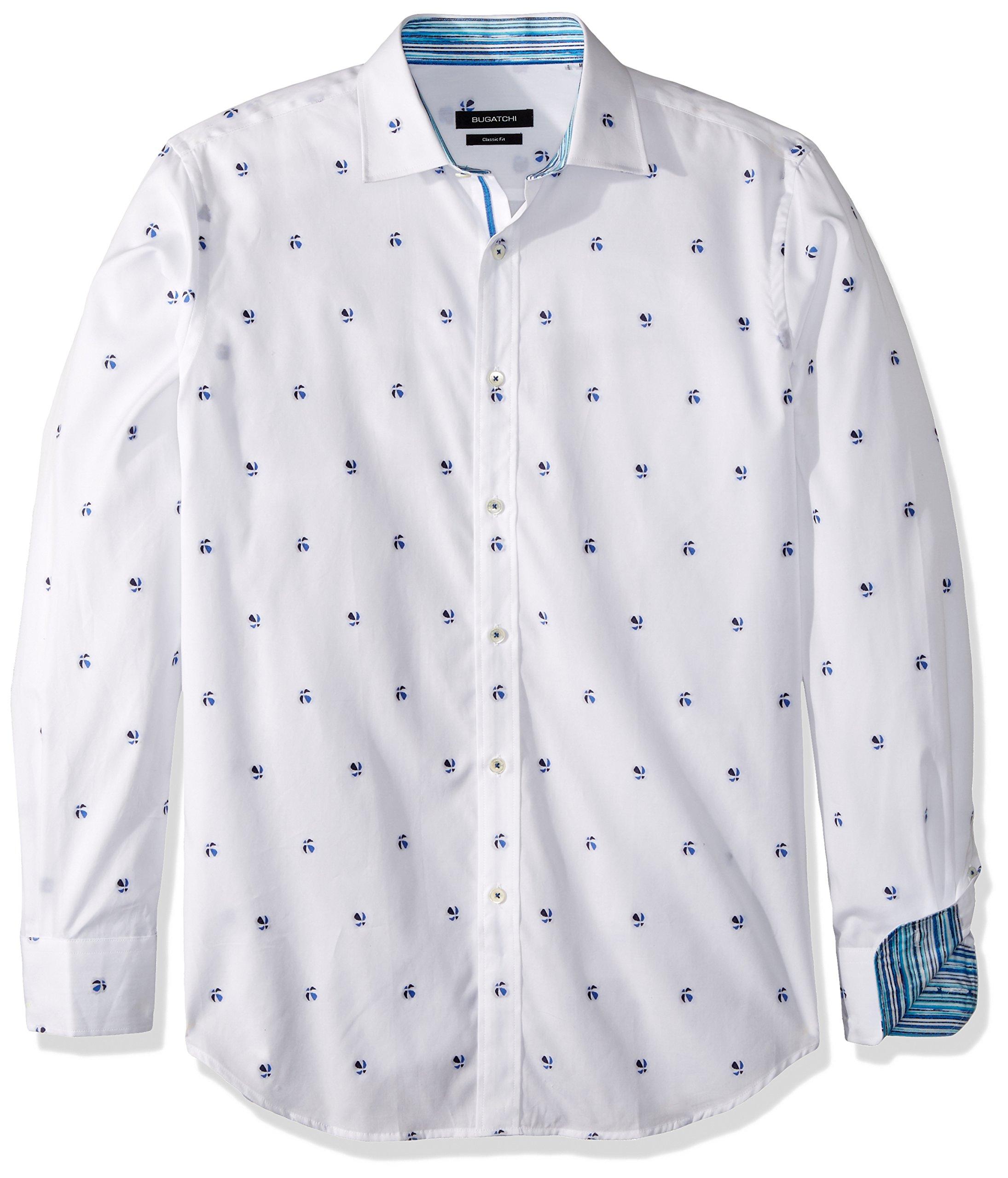BUGATCHI Men's Cotton Classic Fit Long Sleeve Dayne Shirt, White, XL